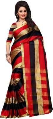 Jhilmil Fashion Self Design Bollywood Cotton Saree(Multicolor) at flipkart