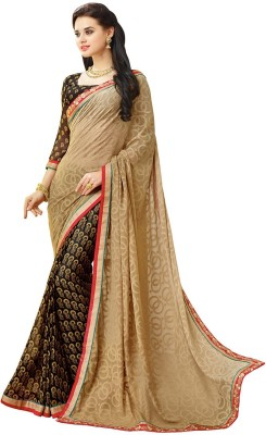 KL COLLECTION Solid Fashion Georgette, Chiffon Sari