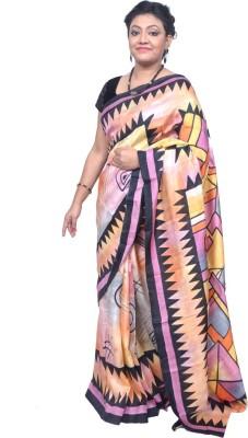 Tanjinas Geometric Print Fashion Silk Sari
