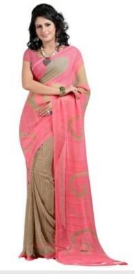 GOPI Solid Bollywood Chiffon Sari