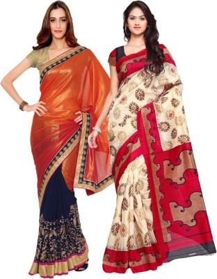 Prachi Silk Mills Embriodered, Printed Fashion Art Silk, Georgette Sari