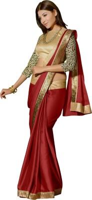 Saree Galaxy Plain Bollywood Satin Sari