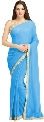 J Milan Embriodered, Solid, Self Design Fashion Georgette Sari