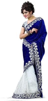 Shreesaimart Embriodered Bollywood Velvet, Net Sari