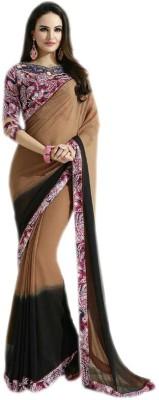 KL COLLECTION Plain Fashion Georgette Sari