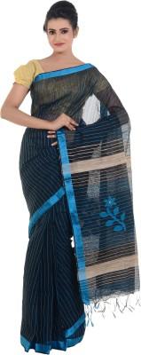 Bengal Handloom Striped Tant Cotton Linen Blend Sari