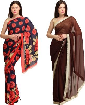 Skyline Trading Printed Daily Wear Crepe, Chiffon Sari
