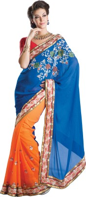 Urjita Creations Self Design Fashion Georgette, Jacquard Sari
