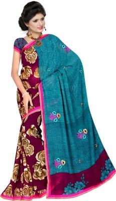 Nandnandan Silk Mills Floral Print Daily Wear Synthetic Georgette Sari