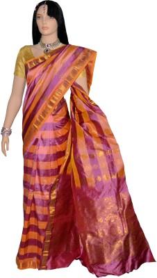 Kanchipuram Striped Kanjivaram Handloom Silk Sari