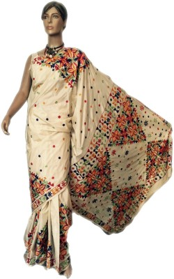 VanshikasCollections Embriodered Phulkari Art Silk Sari