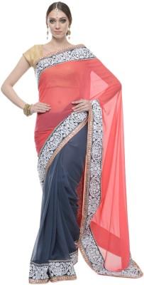 Aarohii Self Design, Solid Bollywood Georgette Sari