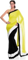 Bollywood Designer Self Design Bollywood Georgette Sari(Yellow)