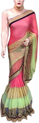 Kanha Fashionna Self Design Bollywood Lycra Sari