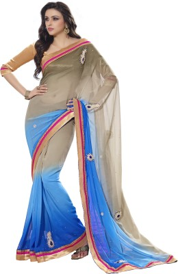 Cutie Pie Self Design Fashion Handloom Georgette Sari