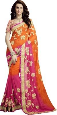 Shop Avenue Embriodered Fashion Pure Chiffon Sari