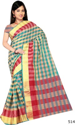 Jhalak Checkered Bollywood Art Silk, Banarasi Silk, Cotton, Silk Sari