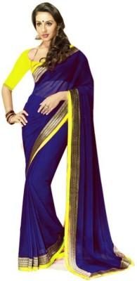 Shamaji Enterprise Plain Bollywood Crepe Sari