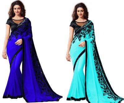 FabPandora Embriodered Fashion Georgette Sari