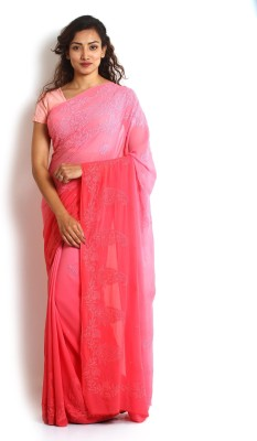 Kasturi-B Swadeshi Karigari Embriodered Fashion Handloom Pure Georgette Sari