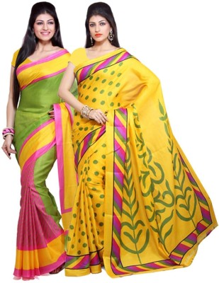 The Designer House Printed Bhagalpuri Silk, Cotton Sari