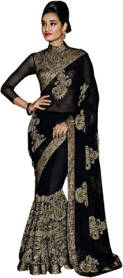 Rola Trendz Embroidered, Self Design Bollywood Georgette Saree(Black)