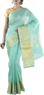 Banarasi Drapes Solid Banarasi Cotton Sari