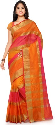 Saara Striped Fashion Cotton, Linen Saree(Orange, Pink) at flipkart