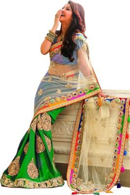 Radhecreation Embriodered Bollywood Handloom Net, Viscose Sari