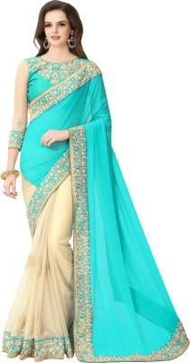 Glory Sarees Embroidered Bollywood Georgette, Lycra Saree(Multicolor) at flipkart