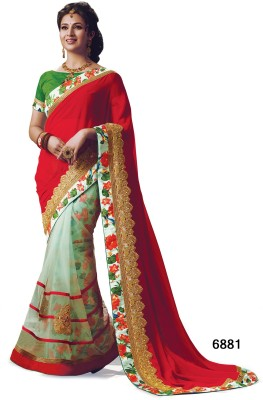 Indianbeauty Self Design, Embriodered Bollywood Georgette, Net Sari