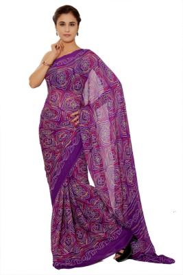 Aaradhya Fashion Printed Bandhani Handloom Crepe Sari