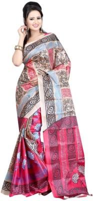 King Villa Graphic Print, Polka Print, Geometric Print, Animal Print, Paisley, Floral Print, Self Design, Solid Assam Silk Art Silk Sari