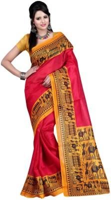 The Fancy Sarees Floral Print Mysore Poly Silk Sari