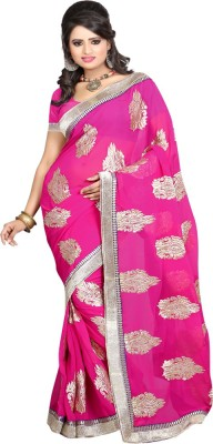 Sanju Sarees Embroidered Fashion Georgette Saree(Pink) at flipkart
