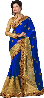 M.S.Retail Self Design Fashion Satin, Net Saree(Blue, Gold) at flipkart