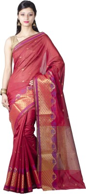 Chandrakala Printed Banarasi Silk Saree(Red) at flipkart
