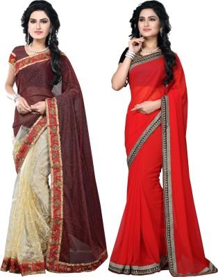 SNV Fashion Embriodered, Embellished Fashion Lycra, Net, Georgette Sari