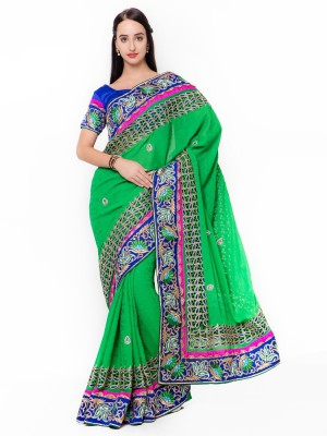 Aagaman Fashion Self Design Fashion Jacquard Saree(Green) at flipkart