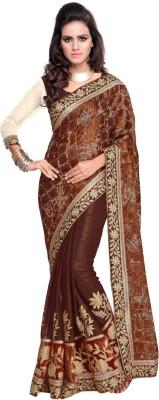 Aagamanfashion Self Design Fashion Brasso, Chiffon, Shimmer Fabric Sari