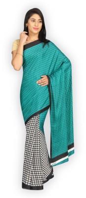 Satrang Printed Daily Wear Crepe Saree(Green) at flipkart
