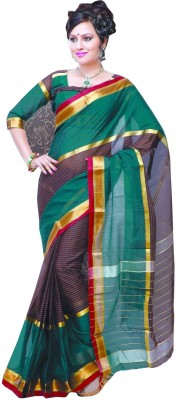 Studio Shringaar Striped Chanderi Art Silk Sari