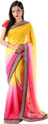 Laxmi Kripa Solid Bollywood Handloom Georgette Sari