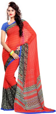 EthnicQueen Floral Print Bandhej Handloom Georgette Sari