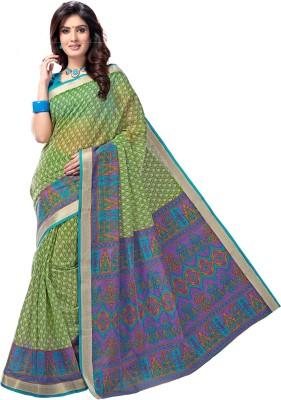 Aarti Apparels Printed Gadwal Cotton Saree(Light Green) at flipkart