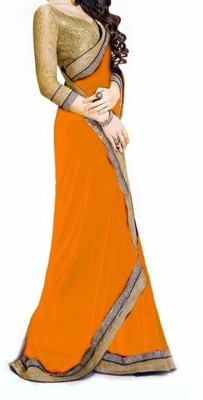 Fashionatics Plain Bollywood Georgette Sari