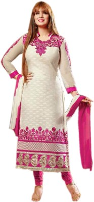 DANEVFASHION Cotton Embroidered Semi-stitched Salwar Suit Material