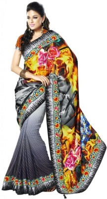 MAHOTSAV Self Design Fashion Satin, Georgette Saree(Grey, Black) at flipkart
