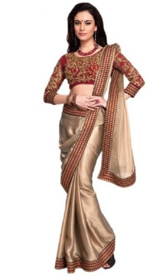 Beauty Choice Embriodered Fashion Satin Sari