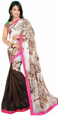Pure Silk Floral Print Fashion Georgette Sari